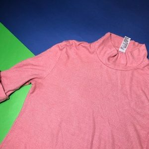 AMERICAN APPAREL MOCK NECK PINK DRESS SHIRT SMALL